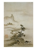 View of Trees Along the Riverbank from Eight Views of the Xiao and Xiang Rivers Lámina giclée por  Shokei