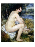 Woman Undresses Sitting in a Landscape Giclee Print by Pierre Auguste Renoir