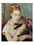 Woman with a Cat Giclee Print by Pierre-Auguste Renoir