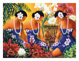 Silent Preparation, Hawaiian Hula Dancers Gicléetryck av Warren Rapozo