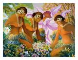 Hawaiian Hula, Women with Tropical Flowers Gicléetryck av Warren Rapozo