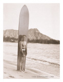 Duke Kahanamoku with Surfboard, Hawaii, c.1930 Impression giclée