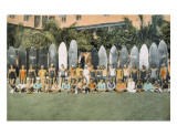 Duke Kahanamoku and Surfing Friends c.1930 Giclee Print by Deanna Benatovich