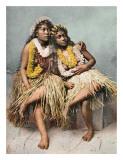 Bellezas hawaianas de época Lámina giclée