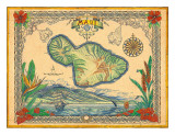 Vintage Style Map of the Island of Maui, Hawaii Giclee Print by Steve Strickland