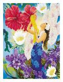 Aloha con flores Lámina giclée por Warren Rapozo