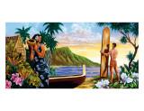 Surfing In Paradise, Hawaii Gicléetryck av Warren Rapozo