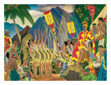 Pomp and Circumstance, Hawaiian Traditional Ceremony Giclée-tryk af Eugene Savage