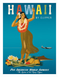 Hawaii By Clipper, Pan American Airways, Hula Girl, c.1950 Giclee Print by  Atherton