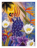 The Blossoms are Opening, Hawaiian Hula Dancers Giclée-tryk af Warren Rapozo