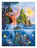 Wahine from the Sea, Hawaiian Mermaid Gicléetryck av Warren Rapozo