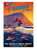 Fly To Hawaii by Clipper, Pan American World Airways c.1940s Wydruk giclee autor M. Von Arenburg