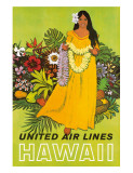 United Air Lines, Hawaii, The Lei Offering Giclee Print