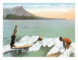 Surfboard Riding Lámina giclée