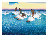 Surf Riders Honolulu Giclée-tryk af Charles W. Bartlett