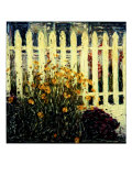 Fence and Flowers Reproduction procédé giclée par Jerry Koontz