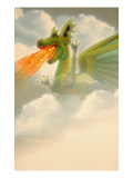 Fire-Breathing Dragon in Clouds Giclee Print by Carol & Mike Werner