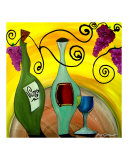 Vino And Grapes Giclee Print by Gino Savarino