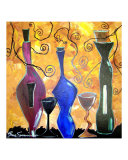 Three bottles of Vino Giclee Print by Gino Savarino
