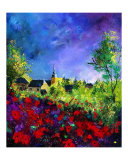 Villers Red Poppies Giclee Print by Pol Ledent