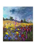 Flowers and old chapel Giclee Print by Pol Ledent