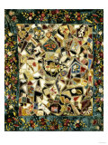 Pieced and Embroidered Silk and Velvet Crazy Quilt, American, Late 19th Century Giclee Print