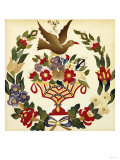 An Appliqued and Painted Cotton Album Quilt Square, Baltimore, 19th Century Giclee Print
