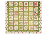 A Pieced and Appliqued Cotton Quilted Coverlet, Baltimore, Dated 1845 Print