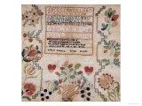 Silk on Linen Needlework Sampler, 19th Century Giclée-tryk af Esther Matlock