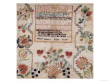 Silk on Linen Needlework Sampler, 19th Century Giclee Print by Esther Matlock