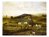 An American Farm: Fall View from the East, American School, 19th Century Posters