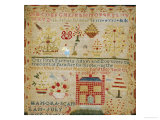 Silk on Linen Needlework Sampler, circa 1836 Giclee Print by Hannah Scanlon