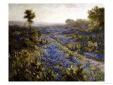 Field of Texas Bluebonnets and Prickly Pear Cacti Poster by Julian Robert Onderdonk