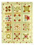 An Appliqued and Stuffed Cotton Quilted Coverlet, American, Mid 19th Century Prints