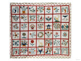 Appliqued Cotton Quilt Coverlet, Probably New York, Dated January 15th, 1859 Giclee Print