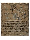 Silk-On-Linen Needlework Sampler, Dated 1802 Giclee Print by Elizabeth Ludlow