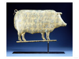 A Molded and Copper Gilded Copper Pig Weathervane, American, 19th Century Posters