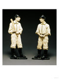 Pair of Painted Cast Iron Baseball Player Andirons, American Late 19th/Early 20th Century Print