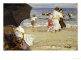 The Beach Umbrella Art by Edward Henry Potthast