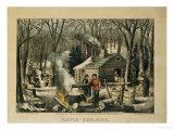 Maple Sugaring, Early Spring in the Northern Woods, 1872 Reproduction procédé giclée par Currier & Ives