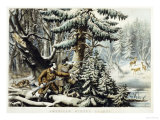 American Winter Sports, Deer Shooting On the Shattagee, 1855 Posters by  Currier & Ives