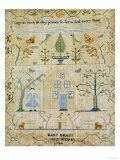 Silk-On-Linen Needlework Sampler, Dated 1764 Giclee Print by Mary Emmes