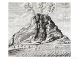 Engraving of Vesuvius Erupting from Mundus Subterraneus Prints by Athanasius Kircher