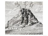 Engraving of Vesuvius Erupting from Mundus Subterraneus Art by Athanasius Kircher