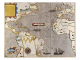 Sir Francis Drake's West Indian Voyage, Engraved Map circa 1589 Giclee Print