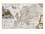Map of Europe, Showing Europe and Western Russia, Iceland and Greenland Giclee Print by Cornelis III Danckerts
