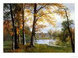 En stille sø Giclée-tryk af Albert Bierstadt
