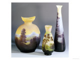 A Selection of Galle Double-Overlay and Acid-Etched Vases, Galle Giclee Print by Émile Gallé