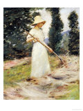Girl Raking Hay Posters by Theodore Robinson