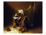 Still Life with Musical Instruments, American School Posters